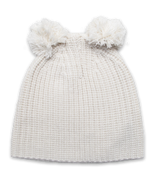 Cardigan Stitch Hat w/ Double Pom in Creme