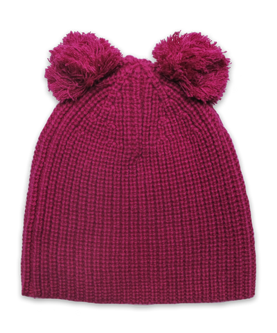 Cardigan Stitch Hat w/ Double Pom in Fuschia
