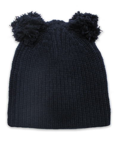 Cardigan Stitch Hat w/ Double Pom in Navy
