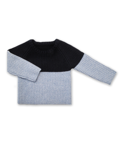 Ribbed Colorblock Sweater in Navy and Blue