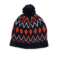 Pom Hat in Navy/Orange Intarsia