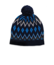 Pom Hat in Navy/Turquoise Intarsia