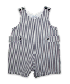 Baby Boy Shortall in Navy Seersucker