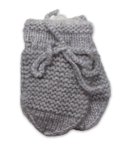 Baby Cashmere Mittens in Silver