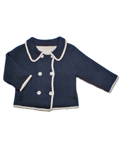 Double-Breast Cardigan in Navy/Creme