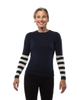Sweater with Striped Sleeve in Navy and Creme