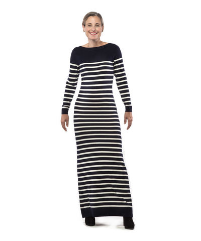 Maxi Dress with Nautical Stripe in Navy and Creme