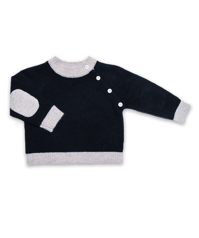 Cashmere Sweater with Elbow Patches in Navy and Silver