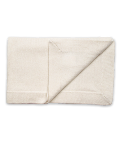 Cashmere Blanket with Wide Binding in Creme