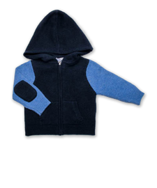 Cashmere Colorblock Hoodie Navy and French Blue