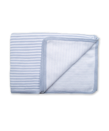 Cotton Striped Blanket in Blue/White