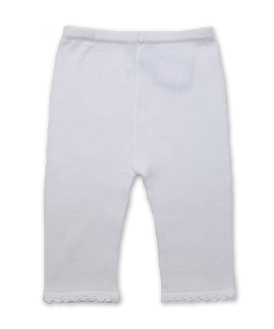 Cotton Lounge Pant with Crochet in White