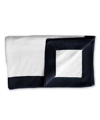 Cotton Blanket with Binding in Navy/White