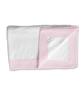 Cotton Blanket with Binding in Pink/white