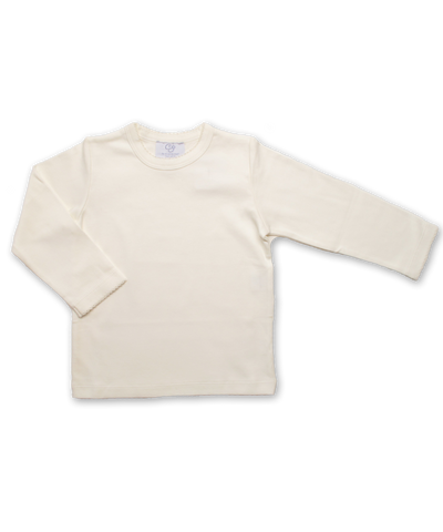 Pima Cotton Longsleeve Tee w/ Crochet in Creme