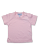 Girl's Short Sleeve Tee with Crochet Trim in Pink