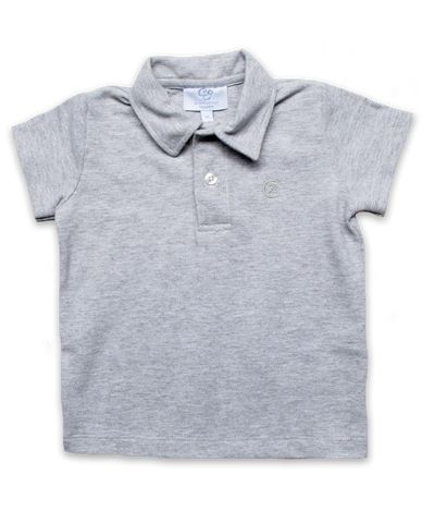 Pique' Cotton Polo in Silver