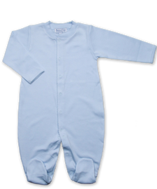 jewel-neck onesie with crochet, blue
