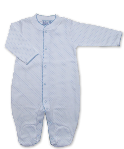 jewel-neck onesie with crochet in Tiny Dot Print, Blue