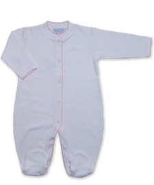 jewel-neck onesie with crochet in Tiny Dot Print, Pink