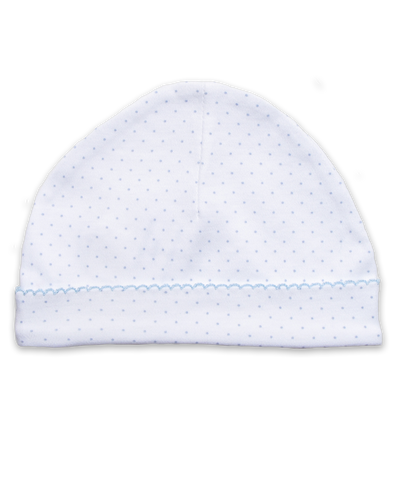 Pima hat with crochet in Tiny Dot print, blue