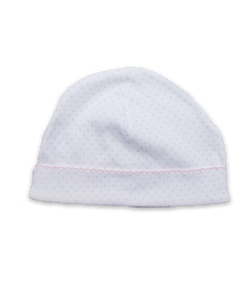 Pima hat with crochet in Tiny Dot print, pink