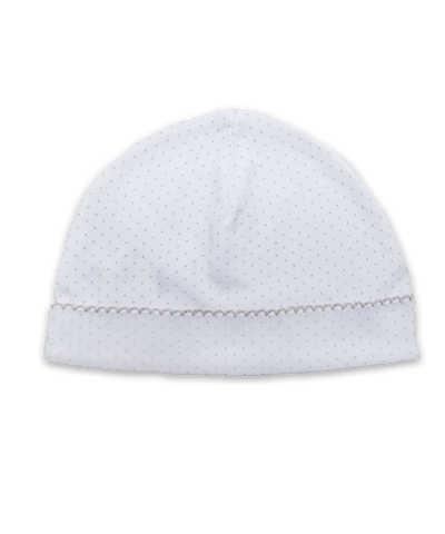 Pima hat with crochet in Tiny Dot print, silver