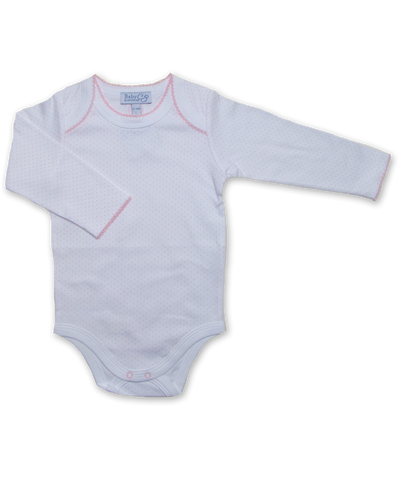 long-sleeved onesie in Tiny Dot Print, pink
