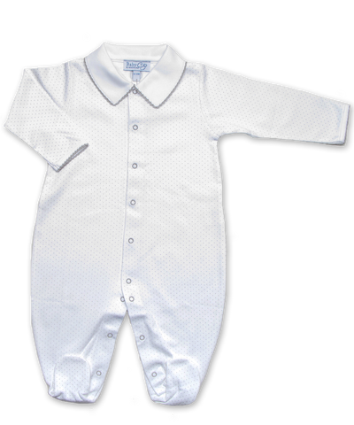 onesie with boys' collar in Tiny Dot Print, Silver