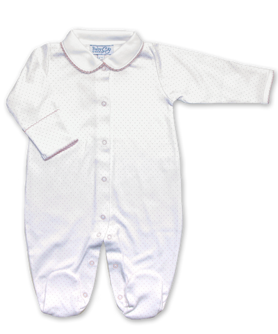 onesie with Peter Pan collar in Tiny Dot print, pink