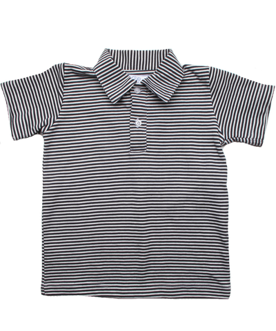 Tiny Stripe Polo in Navy/White