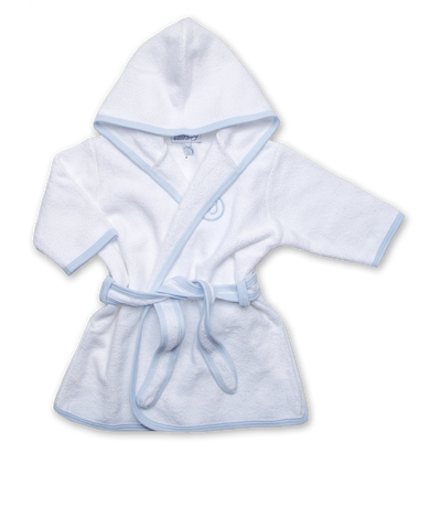 Terry Bathrobe in White/Blue