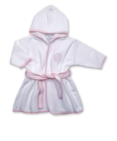 Terry Bathrobe in White/Pink
