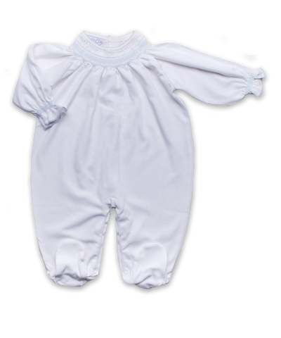 Footie with Hand Smocking in White/Blue