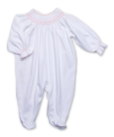 footie w/ hand smocking, white/pink