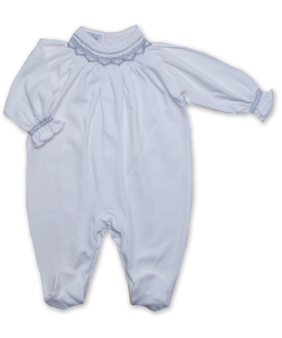 footie w/ hand smocking, white/silver