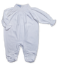 footie w/ hand smocking, white/white
