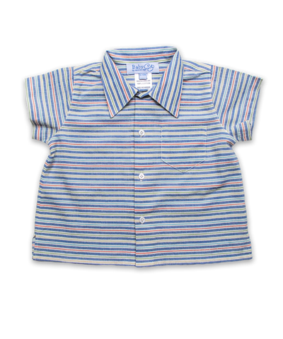 Baby Boy Shirt in Blue Multi Stripe