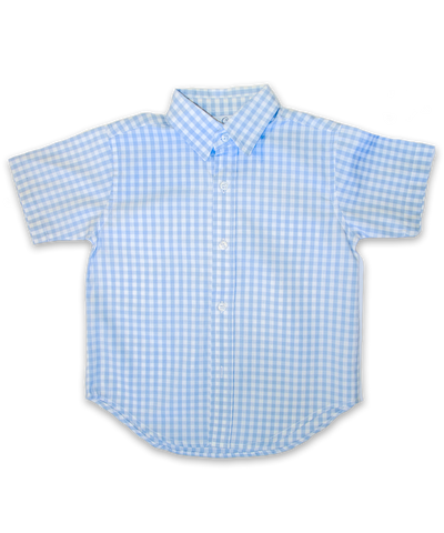 boys' short sleeved shirt, blue check
