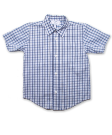 Boy's Shirt in Blue-Marine Windowpaine