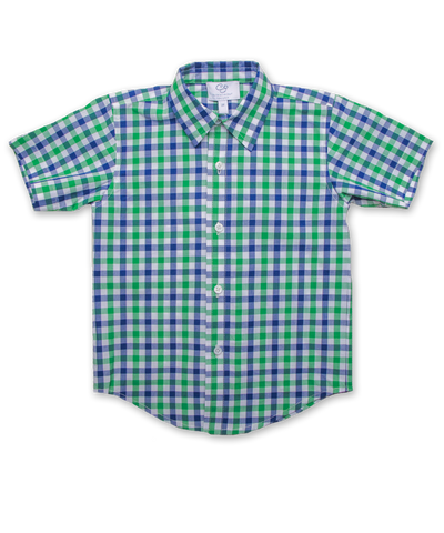 Boy's Shirt in Green/Marine Plaid