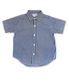 boys' short sleeved shirt in navy check
