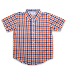 Boy's Shirt in Orange/Marine Plaid