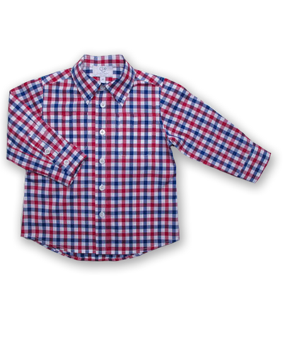 Longsleeve Shirt in Red and Navy Check