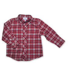 Longsleeve Shirt in Wine/Blue Plaid
