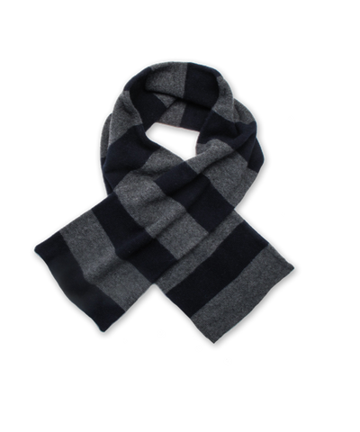 Striped Cashmere Scarf in Navy and Derby Gray