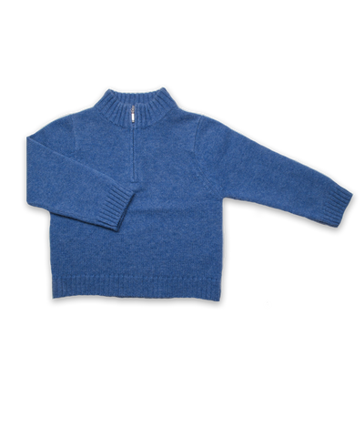 Cashmere Half Zip Sweater in French Blue