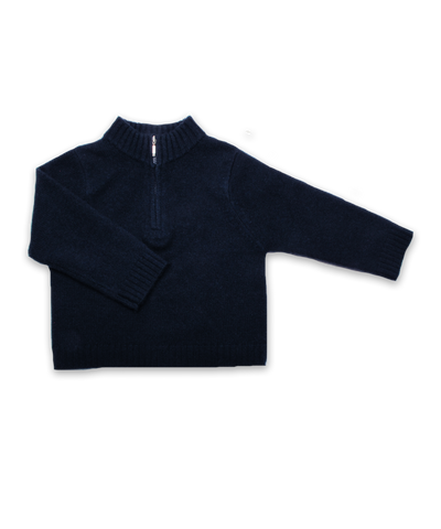 Boy's Cashmere Half Zip Sweater in Navy