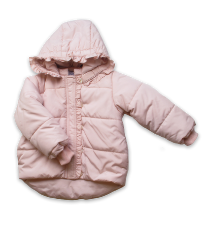 Quilted Snow Jacket with Ruffel in Pink