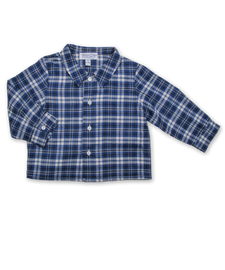 Baby Boy Longsleeve Shirt in French Blue/Navy Plaid